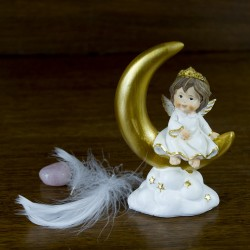 Figurine Ange statue déco assis sur une lune