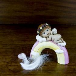 figurine déco Angelot sur un arc en ciel