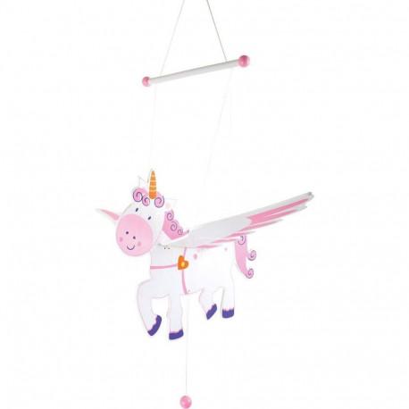 Mobile en bois Licorne volante - décorations chambre d'enfant en bois