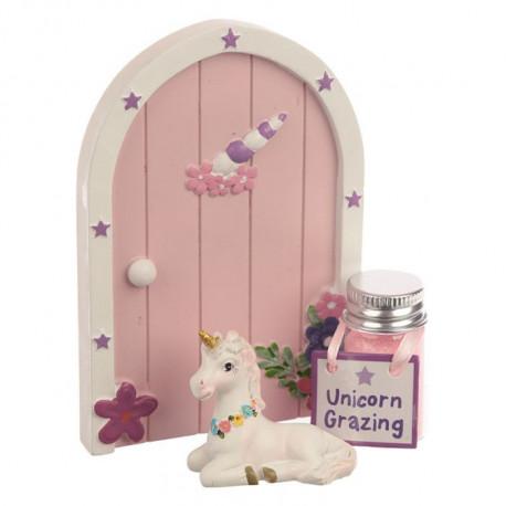 Coffret cadeau décoration thème licorne avec une porte, une figurine et des paillettes