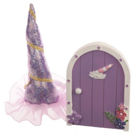Coffret cadeau thème licornes avec une porte et une corne de licorne