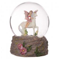 Boule à neige Fée des fleurs sur une licorne