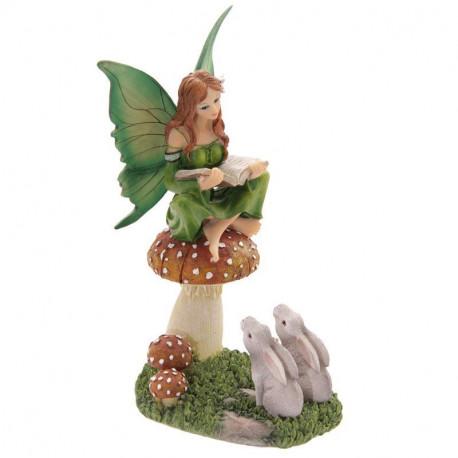 Figurine de fée sur un champignon - collection Lisa Parker