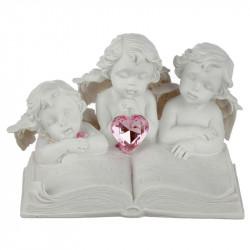 décoration avec 3 Figurines d'Anges , un livre et un coeur rose