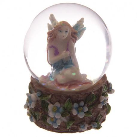 Boule à neige paillettes avec une fée, thème féerie