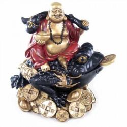 Statuette Feng Shui Bouddha rieur sur un crapaud