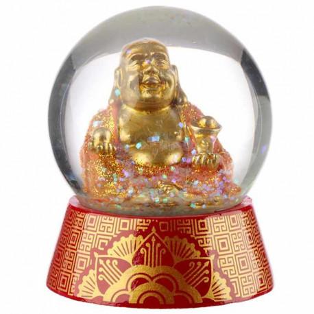 Boule de neige à paillettes avec une figurine du Bouddha de la chance