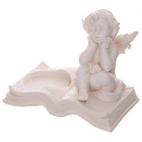 Bougeoir en résine avec une statuette d'Angelot