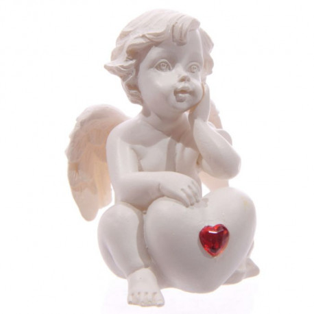 déco baptême figurine Ange et coeur rouge
