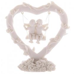décoration figurines Balançoire Anges dans un coeur
