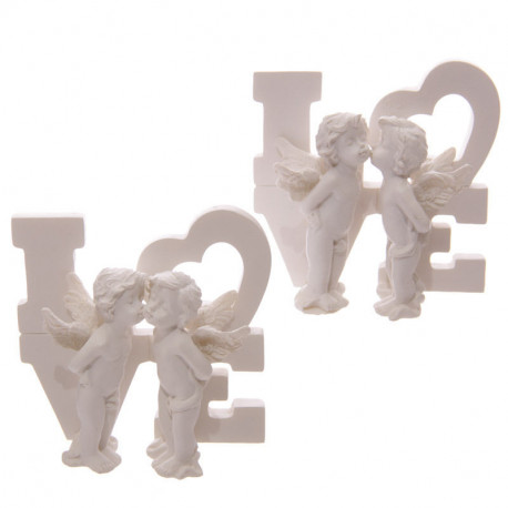 statuettes blanches Figurines Anges s'embrassant