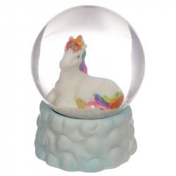 Idée cadeau boule à neige paillettes thème Licorne