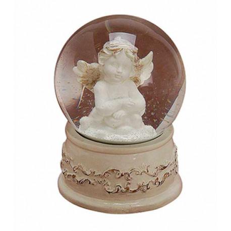 figurine statuette Ange dans boule à neige musicale
