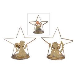 Bougeoir Ange et étoile en métal doré