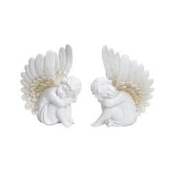Figurine d'ange qui dort en résine blanche et dorée