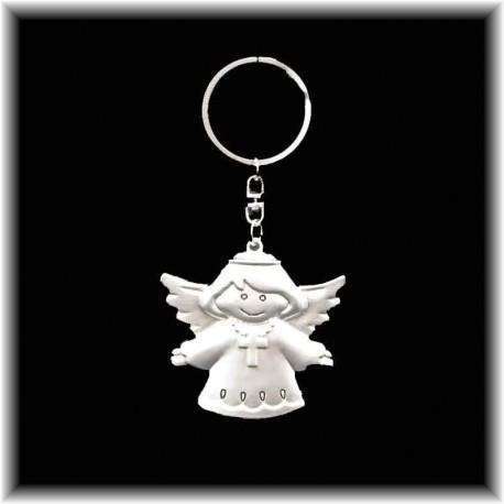 Porte-clefs Ange gardien porte bonheur avec une croix