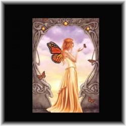 Carte image dessin Fée avec des papillons