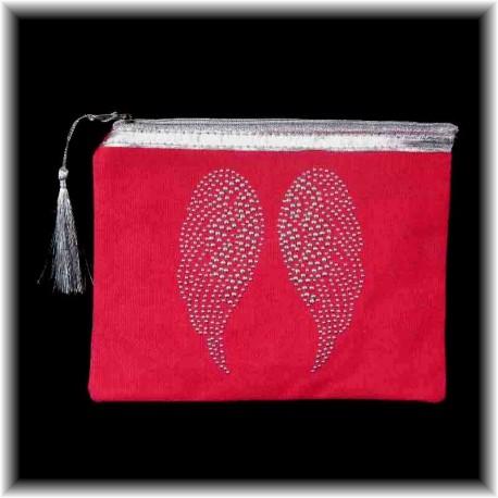 Pochette fushia Ailes d'Anges en strass