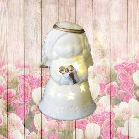 collection déco noel Ange lumineux avec un paquet cadeau