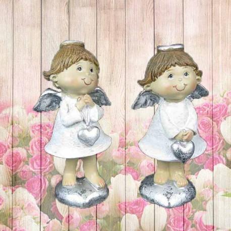 Duo de figurines d'Anges de Noël sur un coeur