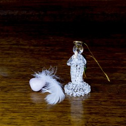 Figurine objet deco Ange en verre avec une chandelle